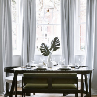 Hampstead Manor- Contemporary Dining Features Terrazzo Table and Green Velvet