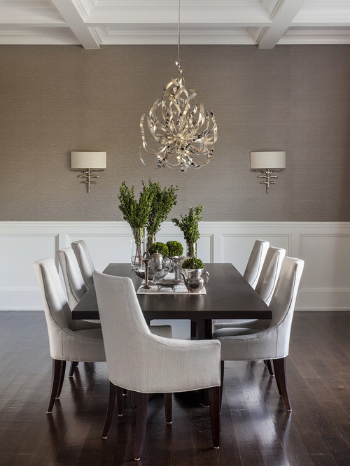 Transitional Dark Wood Floor Dining Room Photo In New York With Gray Walls