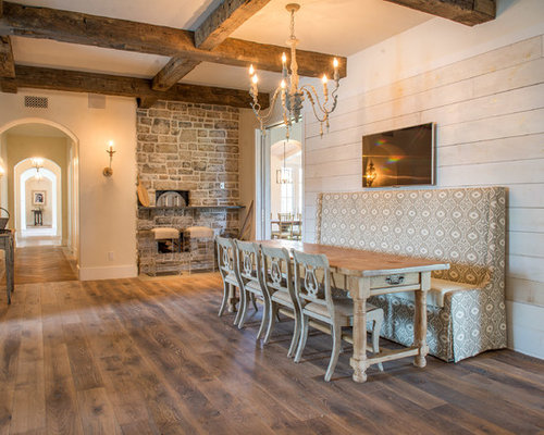 Inspiration For A Large Timeless Medium Tone Wood Floor And Brown Great Room Remodel In