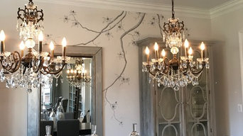 Hand Painted Tree Branches in Formal Dining Room
