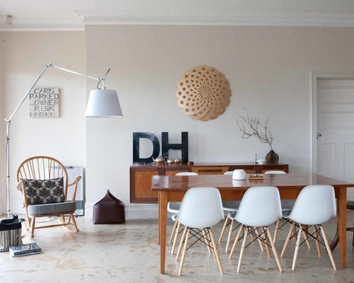 Mid Sized Midcentury Modern Dining Room Photo In Adelaide With Beige Walls