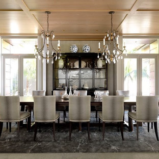 Dining room - large transitional porcelain floor dining room idea in Sydney with gray walls