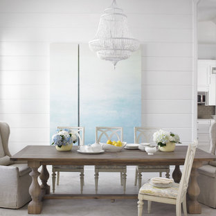 Inspiration for a coastal great room remodel in Miami with white walls
