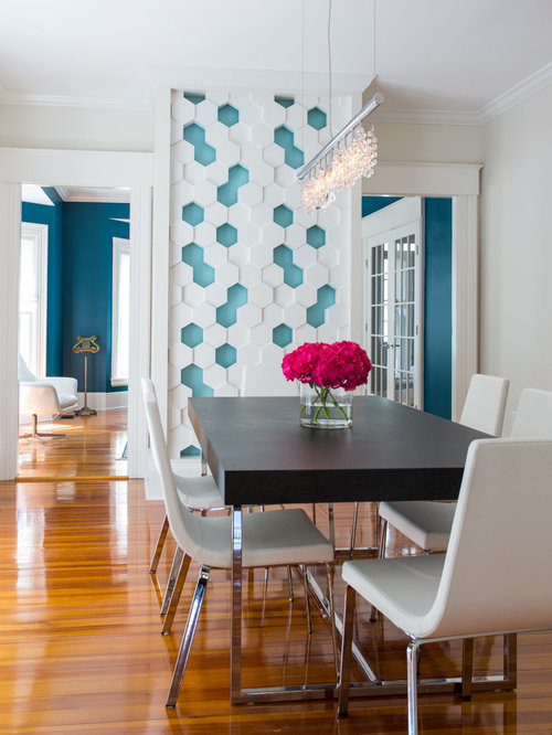Inspiration For A Mid Sized Transitional Medium Tone Wood Floor Dining Room Remodel In Boston