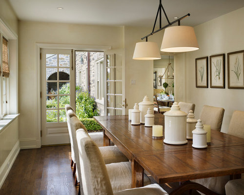 Inspiration For A Timeless Dark Wood Floor Dining Room Remodel In  Philadelphia With Beige Walls