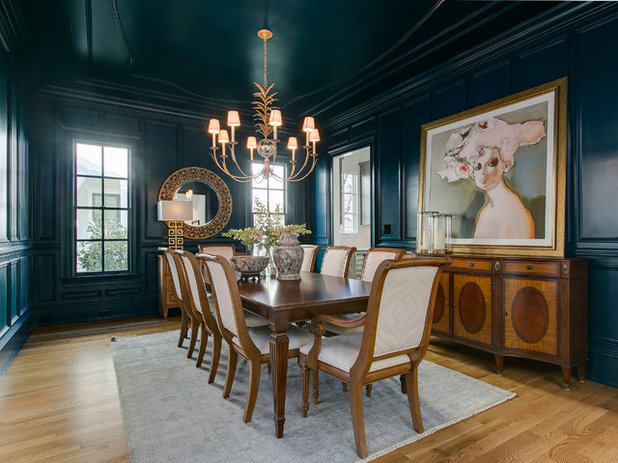 Transitional Dining Room by DJF Builders Inc