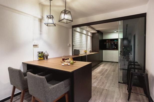half open kitchen design. contemporary dining room by mmj design loft pte ltd half open kitchen