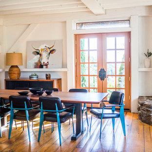 Foto di una sala da pranzo country con pareti bianche, pavimento in legno massello medio, stufa a legna e cornice del camino in pietra
