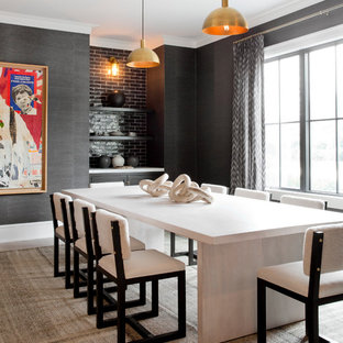 Large trendy beige floor and light wood floor enclosed dining room photo in New York with gray walls and no fireplace