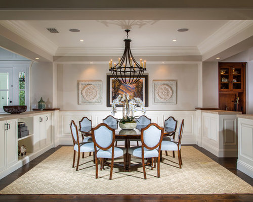 Example Of A Large Classic Great Room Design In Orange County With Dark  Wood Floors,
