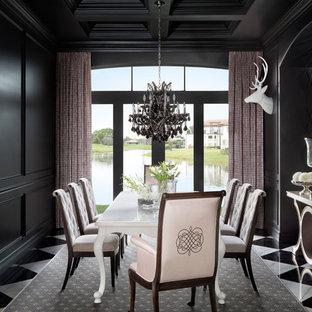 Foto di una sala da pranzo chic con pareti nere, pavimento in marmo, pavimento multicolore e nessun camino