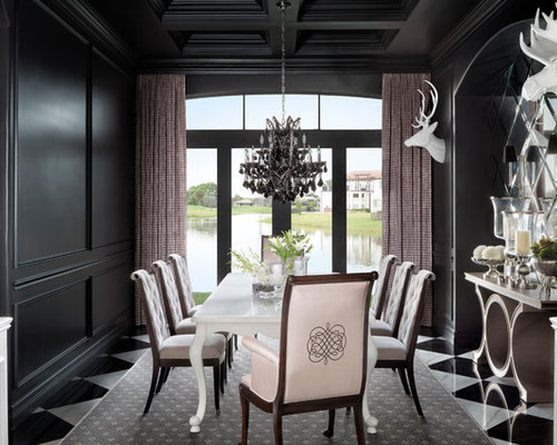 Dining Room Design Ideas, Remodels & Photos with Marble Floors