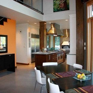 Cette image montre une très grande salle à manger ouverte sur la cuisine traditionnelle avec un mur orange, béton au sol, une cheminée double-face et un sol gris.