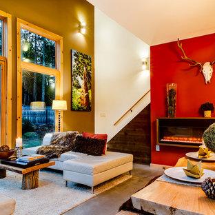 ニューヨークの広いモダンスタイルのおしゃれなLDK (赤い壁、コンクリートの床、吊り下げ式暖炉、グレーの床) の写真