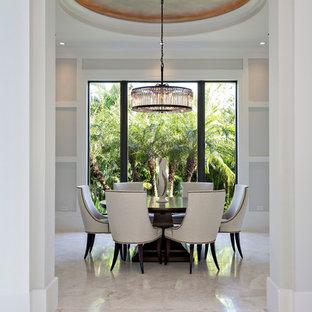 Idéer för en stor modern matplats med öppen planlösning, med grå väggar och marmorgolv