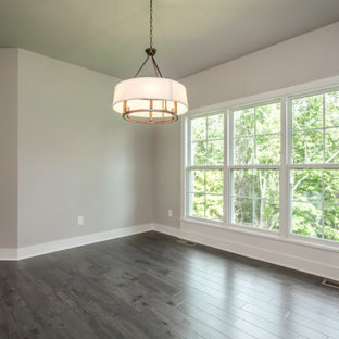 Inspiration for a french country dark wood floor and brown floor breakfast nook remodel in Louisville with gray walls
