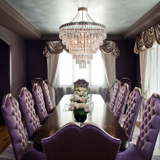 Example of a large trendy enclosed dining room design in Los Angeles with purple walls