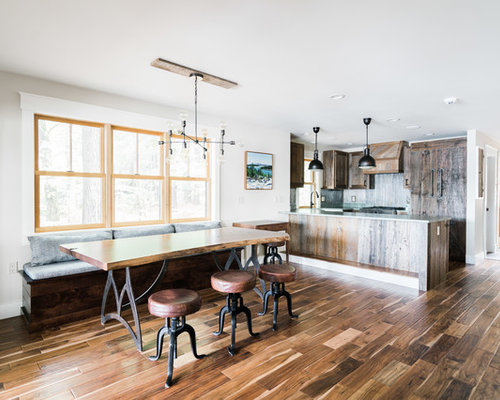 Mountain Style Dark Wood Floor And Brown Kitchen Dining Room Combo Photo In Portland