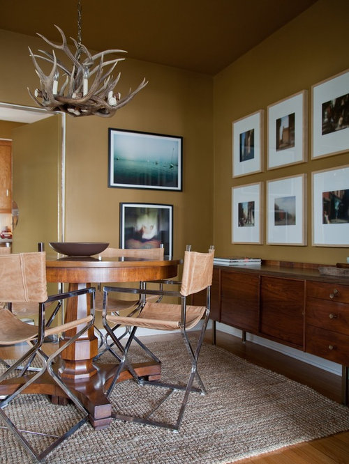 Inspiration For A Contemporary Medium Tone Wood Floor Dining Room Remodel In Los Angeles With Brown