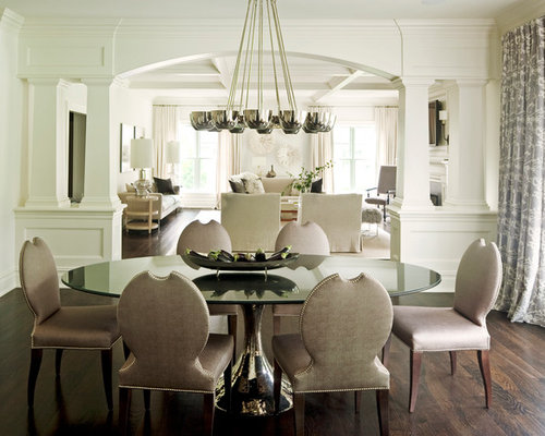 High Quality Example Of A Transitional Dark Wood Floor Dining Room Design In New York  With White Walls