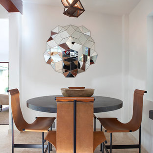 Dining room - contemporary travertine floor dining room idea in San Francisco with white walls