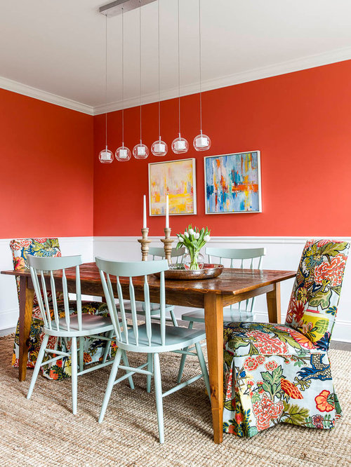 Traditional orange dining room design ideas renovations for Orange dining room design ideas