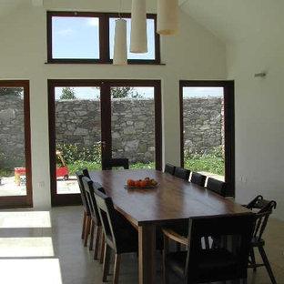 Foto di una sala da pranzo aperta verso la cucina eclettica di medie dimensioni con pareti bianche, pavimento in gres porcellanato e nessun camino