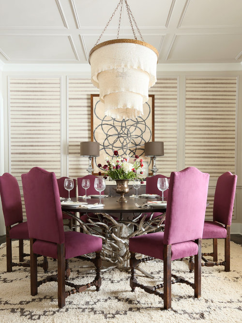 Example of a trendy dining room design in Chicago with beige walls - Driftwood Dining Table Houzz