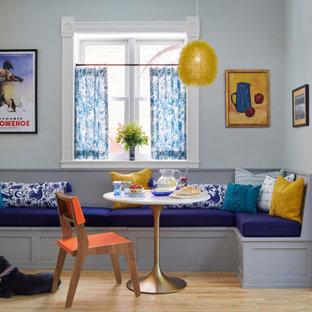 Idéer för vintage matplatser, med grå väggar, ljust trägolv och beiget golv