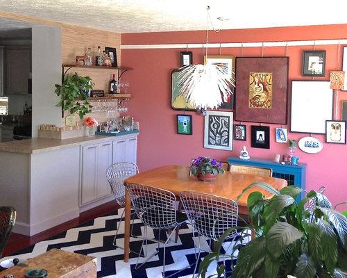 Foton och inspiration för kök med matplatser, med rosa väggar