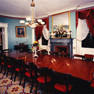 Ornate Carpeted Enclosed Dining Room Photo In New York With Blue Walls A Standard Fireplace