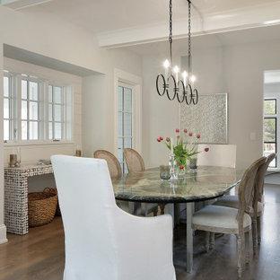 На фото: кухня-столовая в стиле современная классика с белыми стенами, паркетным полом среднего тона, коричневым полом, балками на потолке и стенами из вагонки без камина с