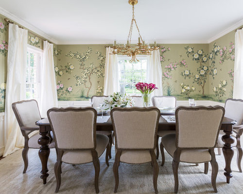 Example Of A Classic Gray Floor Dining Room Design In Houston With Green Walls