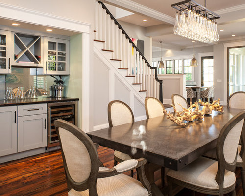Example Of An Arts And Crafts Dining Room Design In Atlanta With Gray Walls Dark