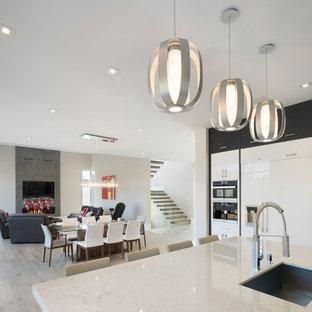 Immagine di un'ampia sala da pranzo aperta verso la cucina moderna con pareti bianche, parquet chiaro, camino sospeso, cornice del camino in cemento e pavimento bianco