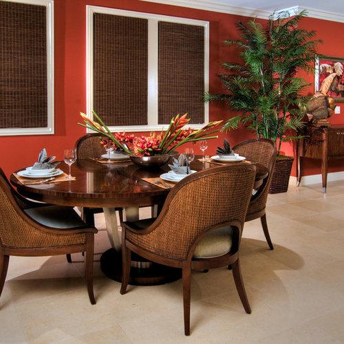 salle manger exotique avec un mur rouge photos et id es d co de salles manger. Black Bedroom Furniture Sets. Home Design Ideas