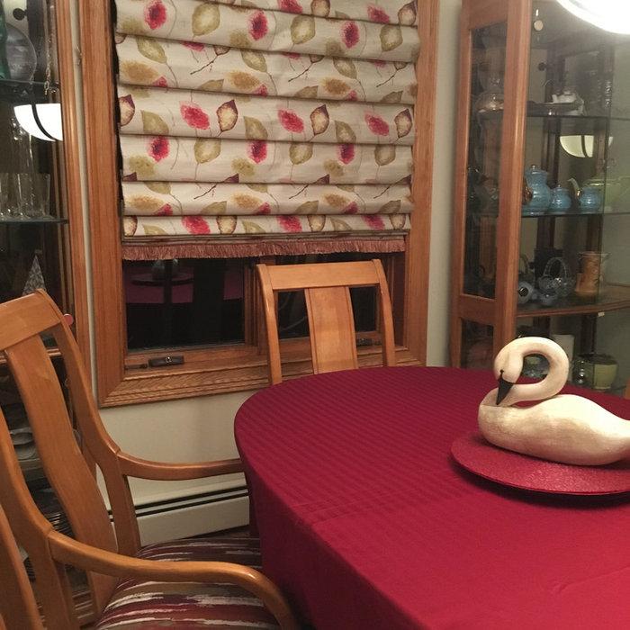 Hobbled Roman Shade In Dining Room