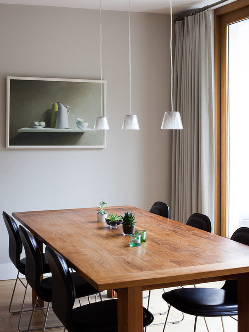Small Classic Open Plan Dining Room In London With Grey Walls, Light  Hardwood Flooring And