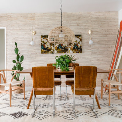 Beach style light wood floor and beige floor kitchen/dining room combo photo in Sacramento with beige walls and no fireplace