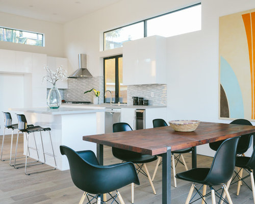 Inspiration For A Contemporary Light Wood Floor Kitchen Dining Room Combo Remodel In Los Angeles