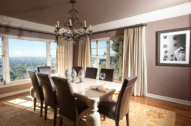 Transitional Dining Room by Laura U, Inc.