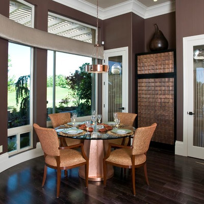 Inspiration for a mid-sized contemporary dark wood floor great room remodel in Sacramento with brown walls
