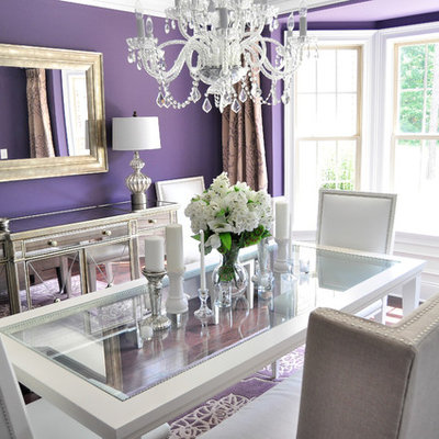 Dining room - contemporary dark wood floor dining room idea in Raleigh with purple walls
