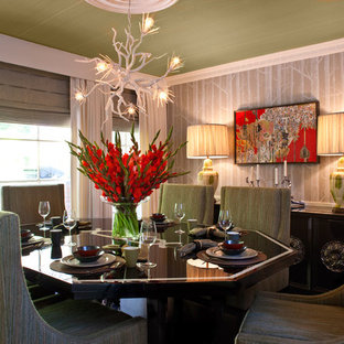 Example of a transitional enclosed dining room design in Los Angeles with beige walls