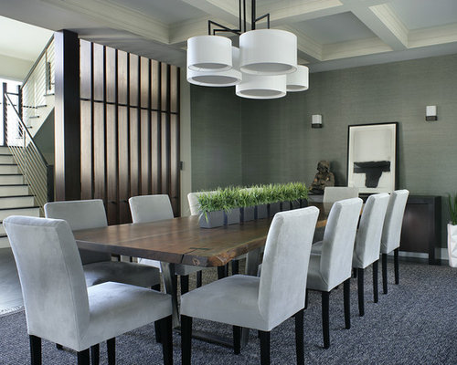 Inspiration For A Large Contemporary Dark Wood Floor Dining Room Remodel In  New York With Gray