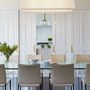 Enclosed dining room - transitional enclosed dining room idea in Chicago with white walls