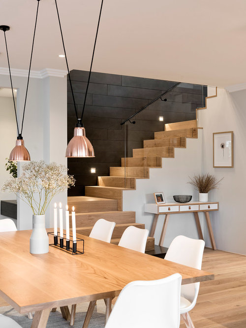 Elegant Contemporary Light Wood Floor Dining Room Idea In Perth With Gray Walls