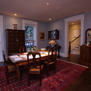 Photo of a mid-sized arts and crafts separate dining room in Other with blue walls and medium hardwood floors.