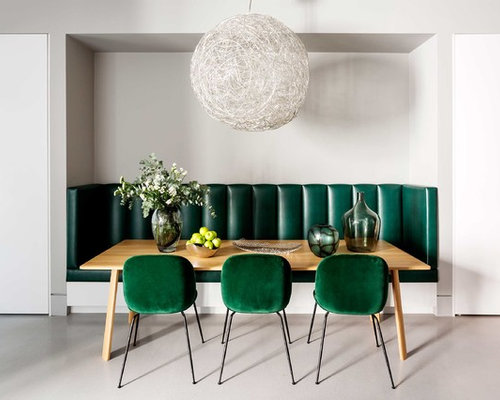 Superior Example Of A Mid Sized Minimalist Gray Floor Dining Room Design In London  With Gray