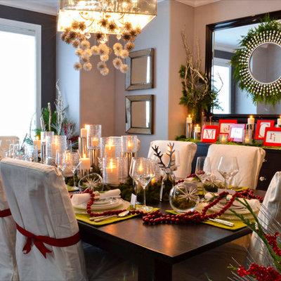 Elegant dining room photo in Edmonton with gray walls